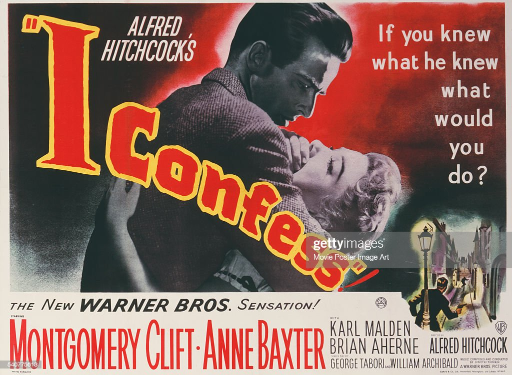 A poster for Alfred Hitchcock's 1953 crime film 'I Confess' starring... News Photo - Getty Images