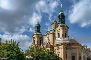 Prague Cityscape Panorama Over Medieval Gothic And Baroque City St Nicholas Church Czech Republic High Res Stock Photo Getty Images