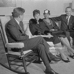 Kennedy Rocking Chair Diy Dining Room Slipcover President Sits In His And Chats With Wilma... News Photo | Getty Images