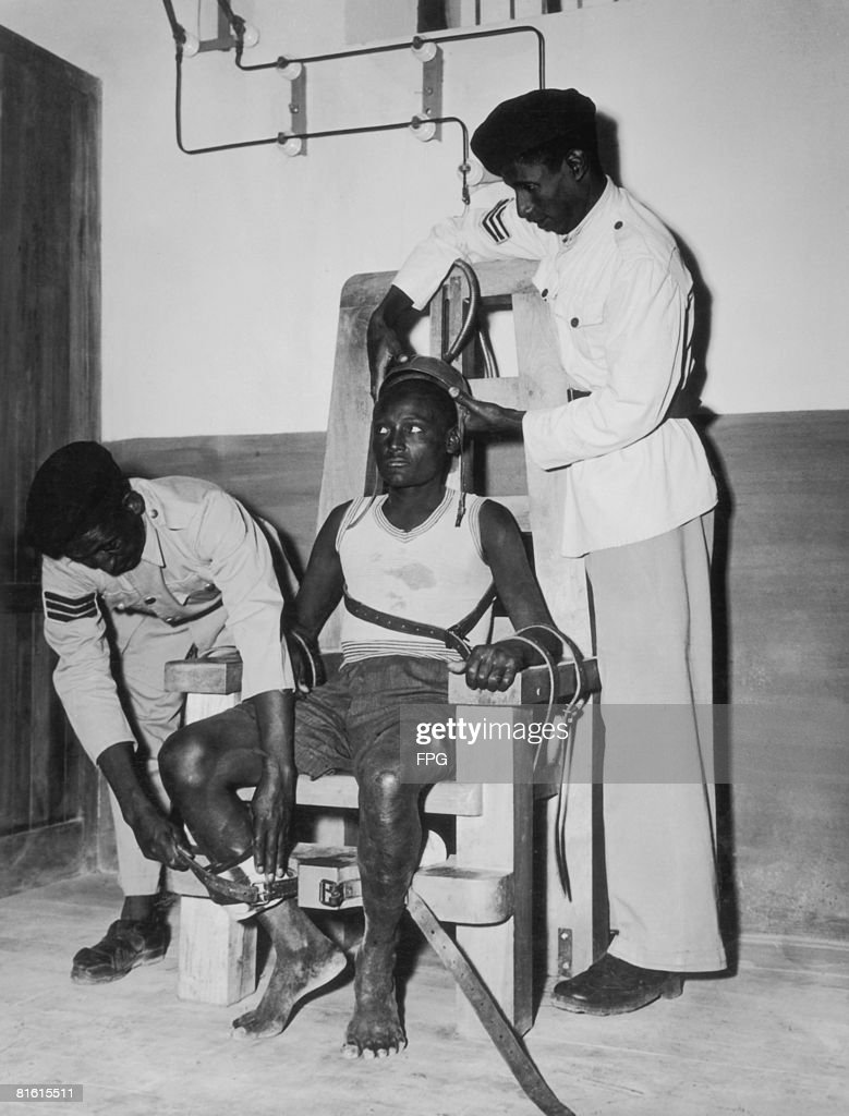 florida electric chair eaze lounge stock photos and pictures a prisoner is strapped into the at addis ababa prison circa 1950