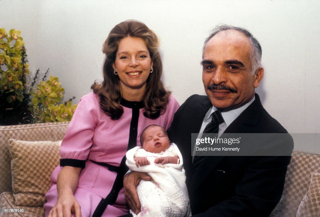 Queen Noor And King Hussein Embrace Their New Born