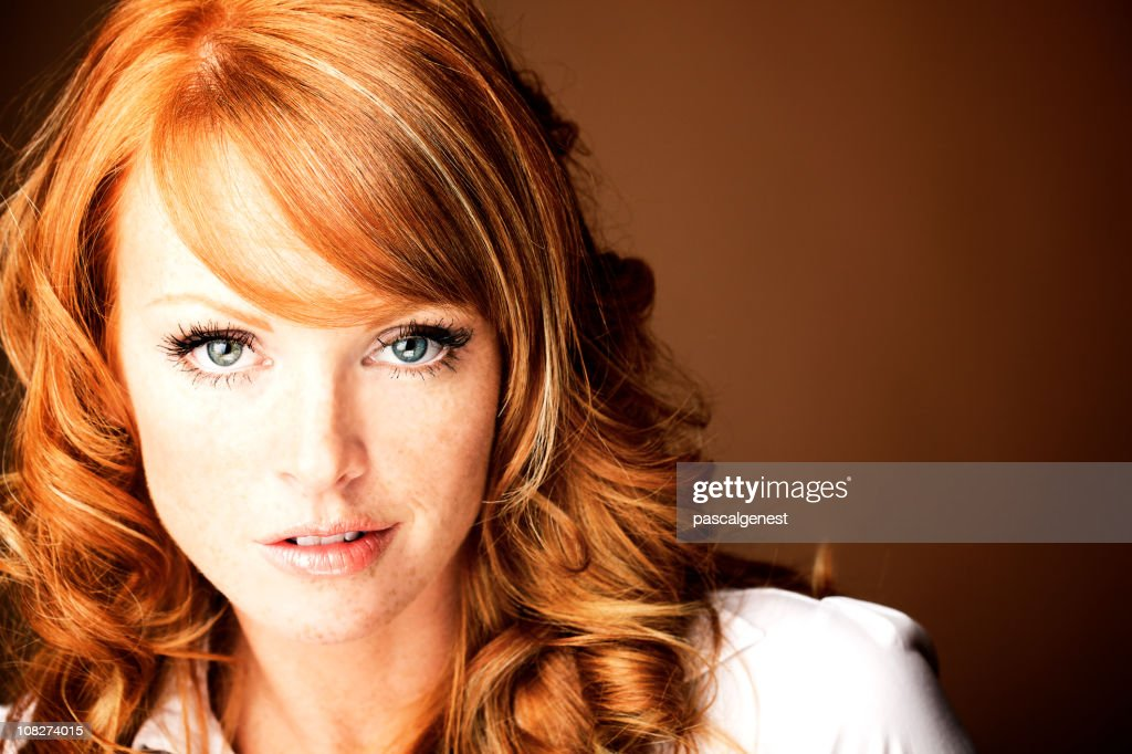 red hair portrait woman with blue