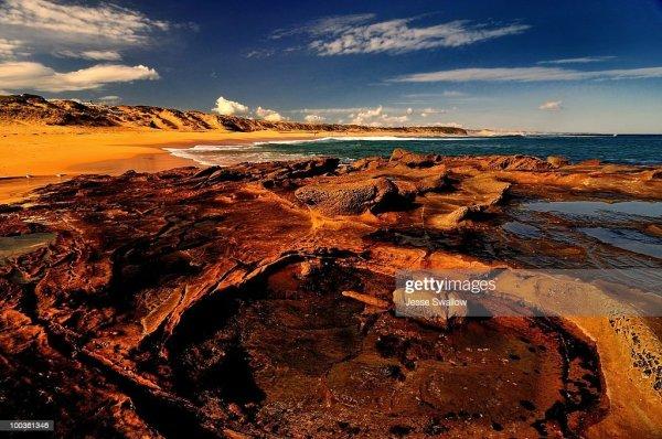 rocky beach landscape stock