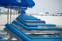 Row Of Blue Beach Chairs Photo   Getty Images