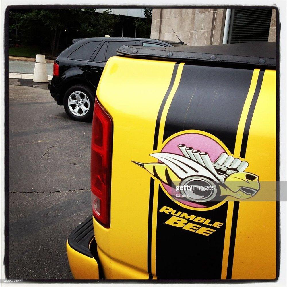 medium resolution of rumble bee logo on dodge ram stock photo