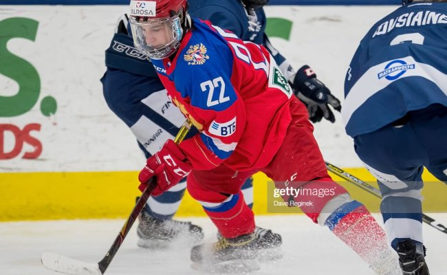 Ruslan Iskhakov Of The Russian Nationals Controls The Puck