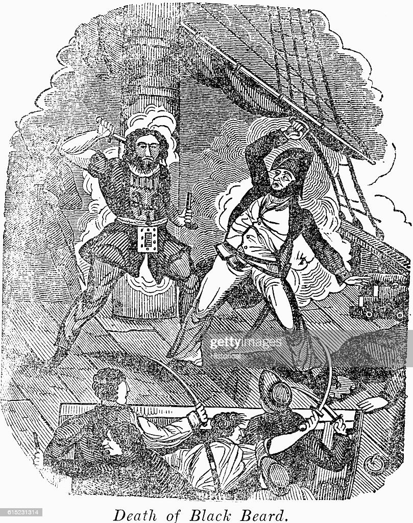 A sailor fights with Edward Teach. known as Blackbeard. on the deck... News Photo - Getty Images