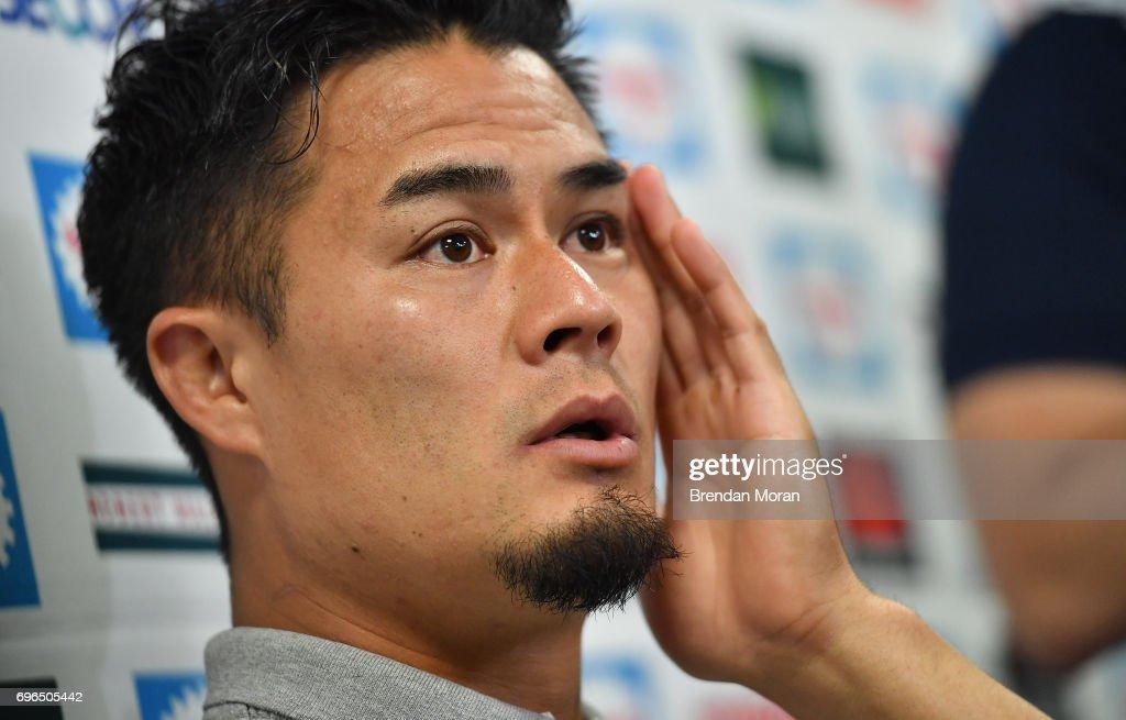 Shizuoka . Japan - 16 June 2017; Yuu Tamura of Japan speaks at a... Foto di attualità - Getty Images
