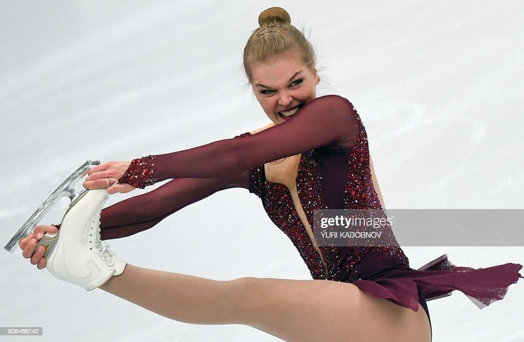 TOPSHOT Slovakia39s Nicole Rajicova performs in the