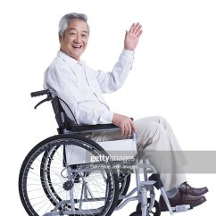 Wheelchair Man Garden Chair Covers The Range Elderly Asian Stock Photos And Pictures Smiling Senior In Waving
