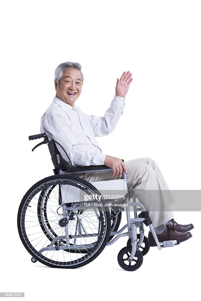 wheelchair man revolving chair factory elderly asian stock photos and pictures smiling senior in waving