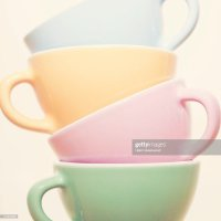 Stack Of Colourful Tea Cups Stock Photo | Getty Images