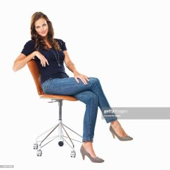 Woman Sitting In Chair Pottery Barn Adirondack Studio Shot Of Young Relaxed On Stock