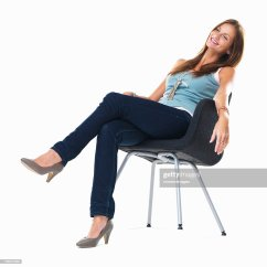Woman Sitting In Chair Big Joe Chairs Walmart Studio Shot Of Young On And Smiling