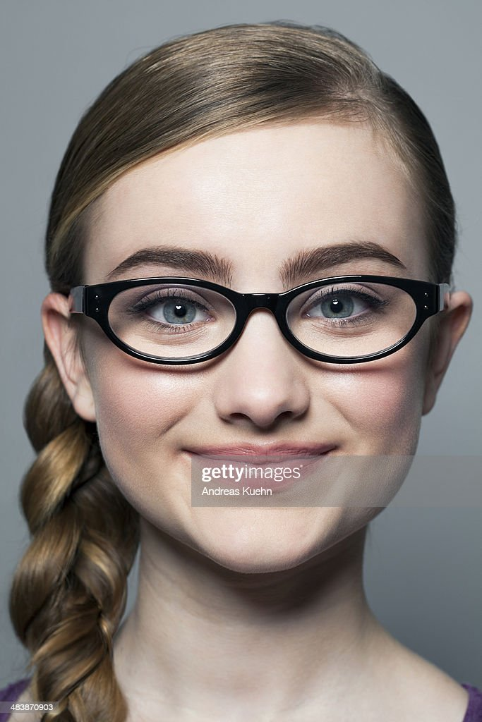 girl nerd hairstyles stock