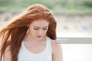 teenage girl with long red hair