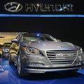 The hyundai motor co 2015 genesis sedan vehicle is displayed during