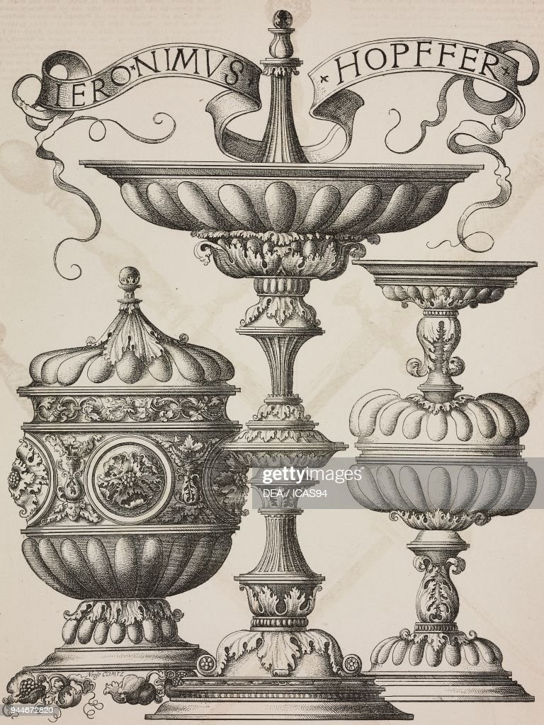 three vases engraving by