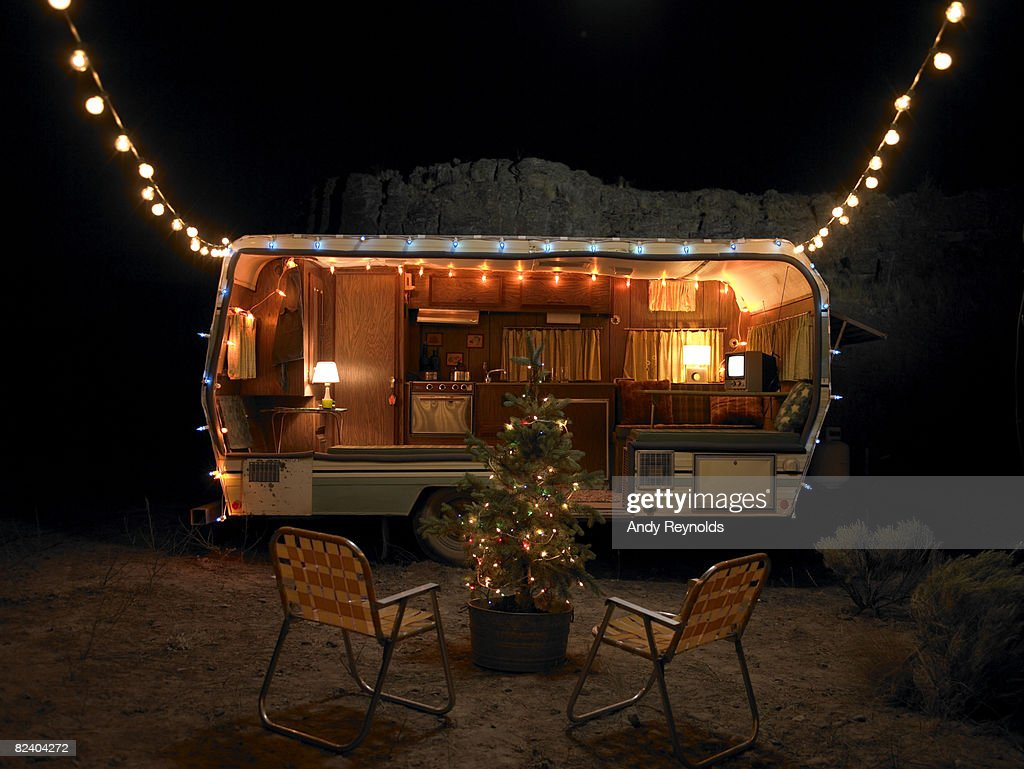 Trailer At Night With Christmas Decorations High Res Stock Photo Getty Images