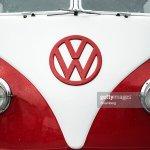 A Volkswagen Ag Badge Sits On A Volkswagen Split Screen Camper Van News Photo Getty Images