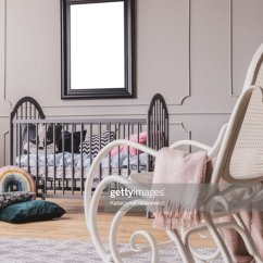 Bedroom Chair With Blanket Stackable Office Chairs White Rocking Pastel Pink In Elegant Little Baby Grey Wooden Crib And Mockup Poster On The Wall