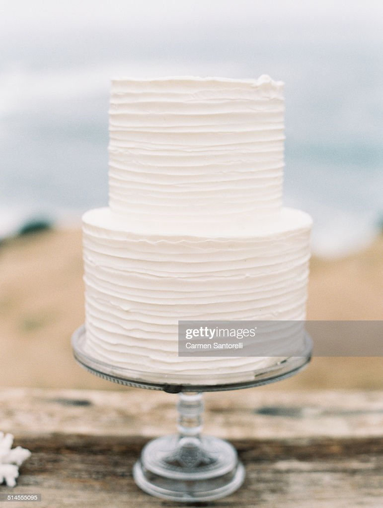 White Two Tier Wedding Cake Stock Photo Getty Images