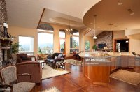 Wide Angle Of Modern Living Room And Kitchen Stock Photo ...