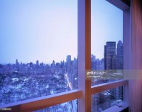 Window With View Of A Snow Covered Central Park Stock ...