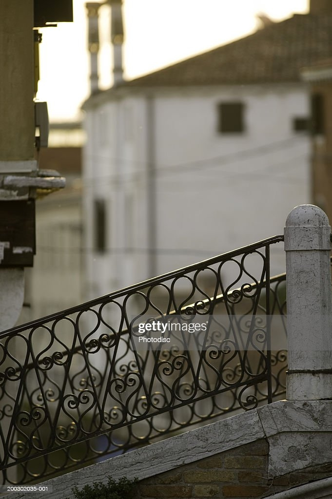 Wrought Iron Handrail On Outdoor Stairs High Res Stock Photo | Iron Handrails For Outdoor Steps | Deck | Simple | Outside | Free Standing | Galvanized Iron