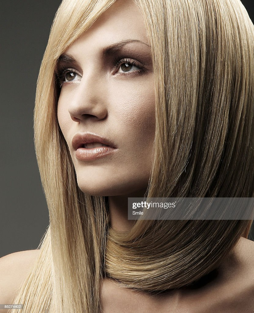 young blonde woman with hair wrapped