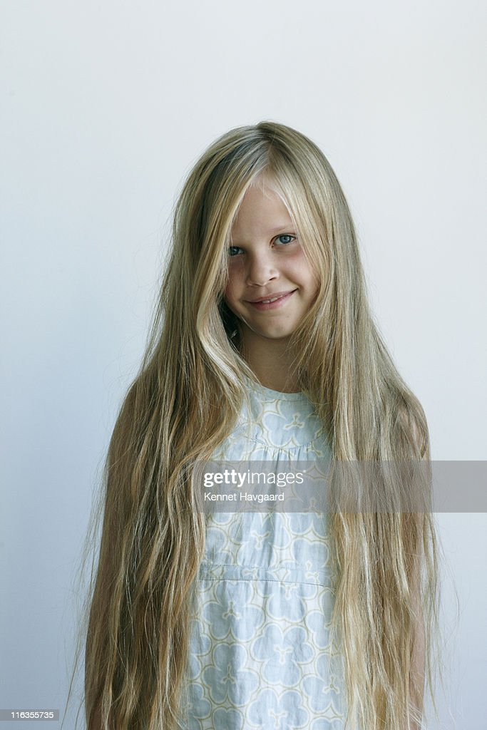 young girl with long hair stock