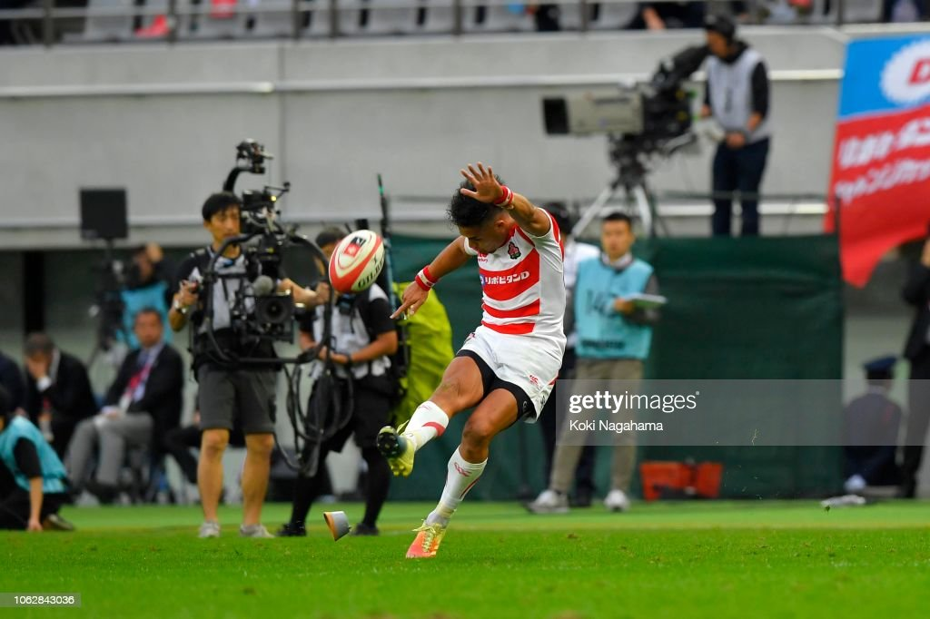 Yu Tamura of Japan kicks a conversion during the test match between... News Photo - Getty Images