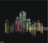Abstract Colorful Modern Building Pattern With Black ...