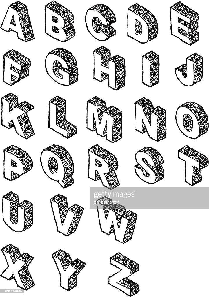 3d Alphabet Letters Vector Art Getty Images