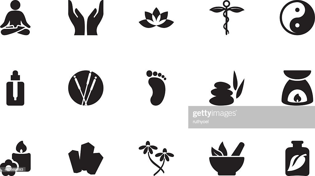 Alternative Therapy Icons Simple Black High-Res Vector