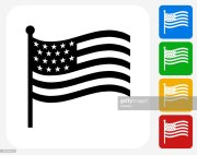 american flag icon flat graphic