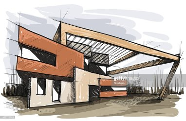 sketch architectural building modern vector architecture rooftop skyline buildings istock stockillustraties embed clip gettyimages fashionstcity subway