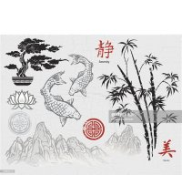 Asian Ink Design Elements Vector Art