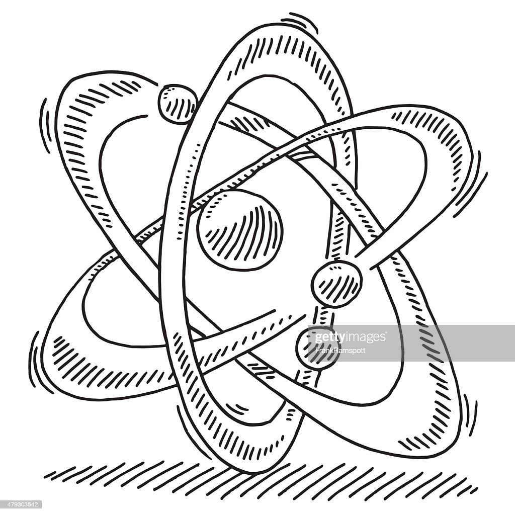 Atom Molecule Science Symbol Drawing High-Res Vector