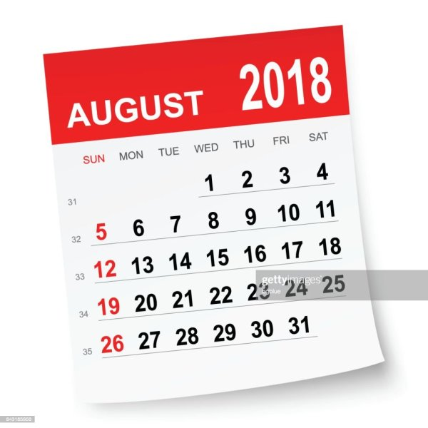 August 2018 Calendar Vector Art Getty