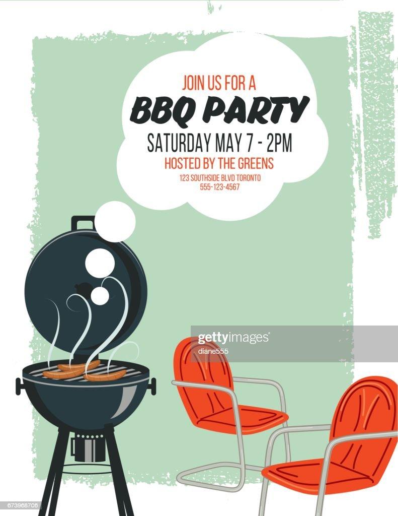 Backyard Bbq Background Invitation Template Vector Art