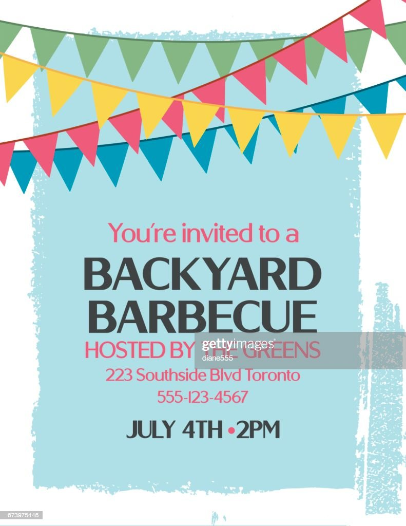 Backyard Bbq Background Invitation Template Vectorkunst