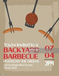 Backyard Bbq Background Invitation Template Vector Art
