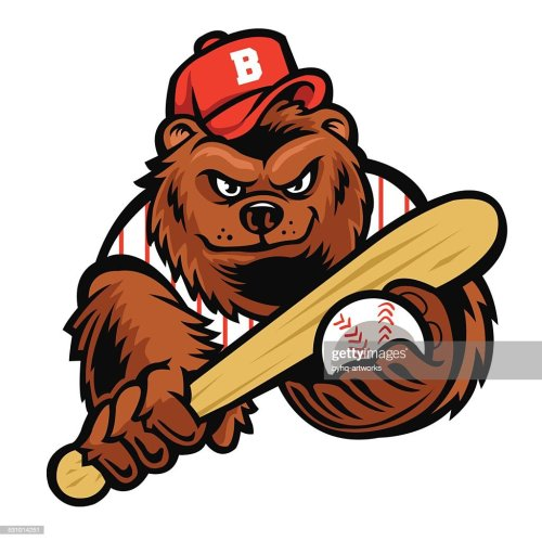 small resolution of baseball bear mascot vector art