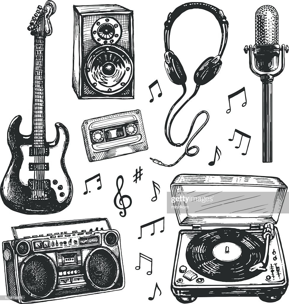 Black And White Drawings Of Music Related Items High-Res