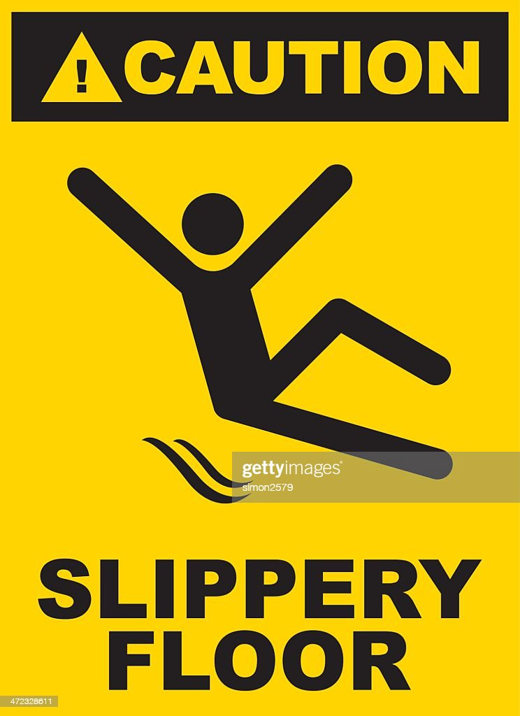 Black And Yellow Slippery Floor Sign Vector Art  Getty Images