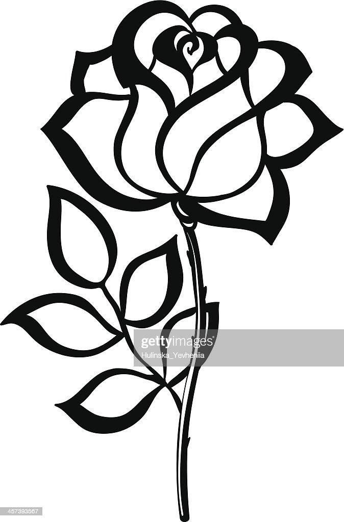 Silhouette Noire De Contour Rose Isol Sur Fond Blanc