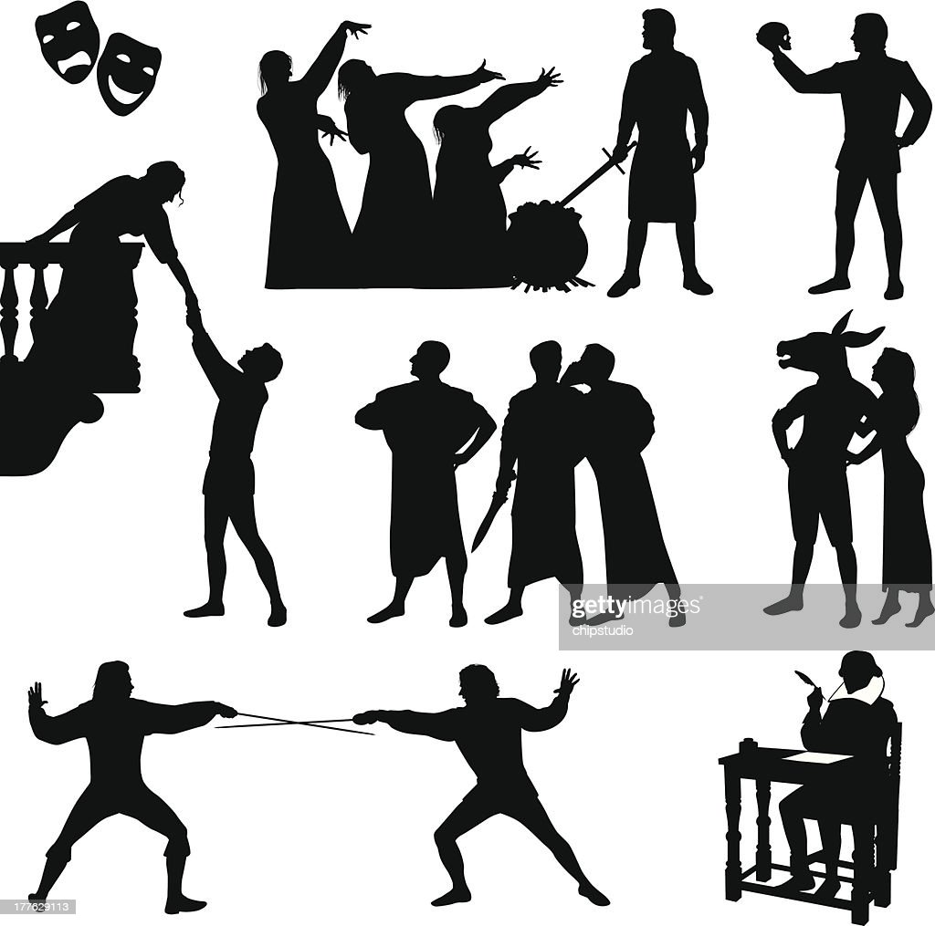 Black Silhouettes Of Shakespeare Characters Vector Art