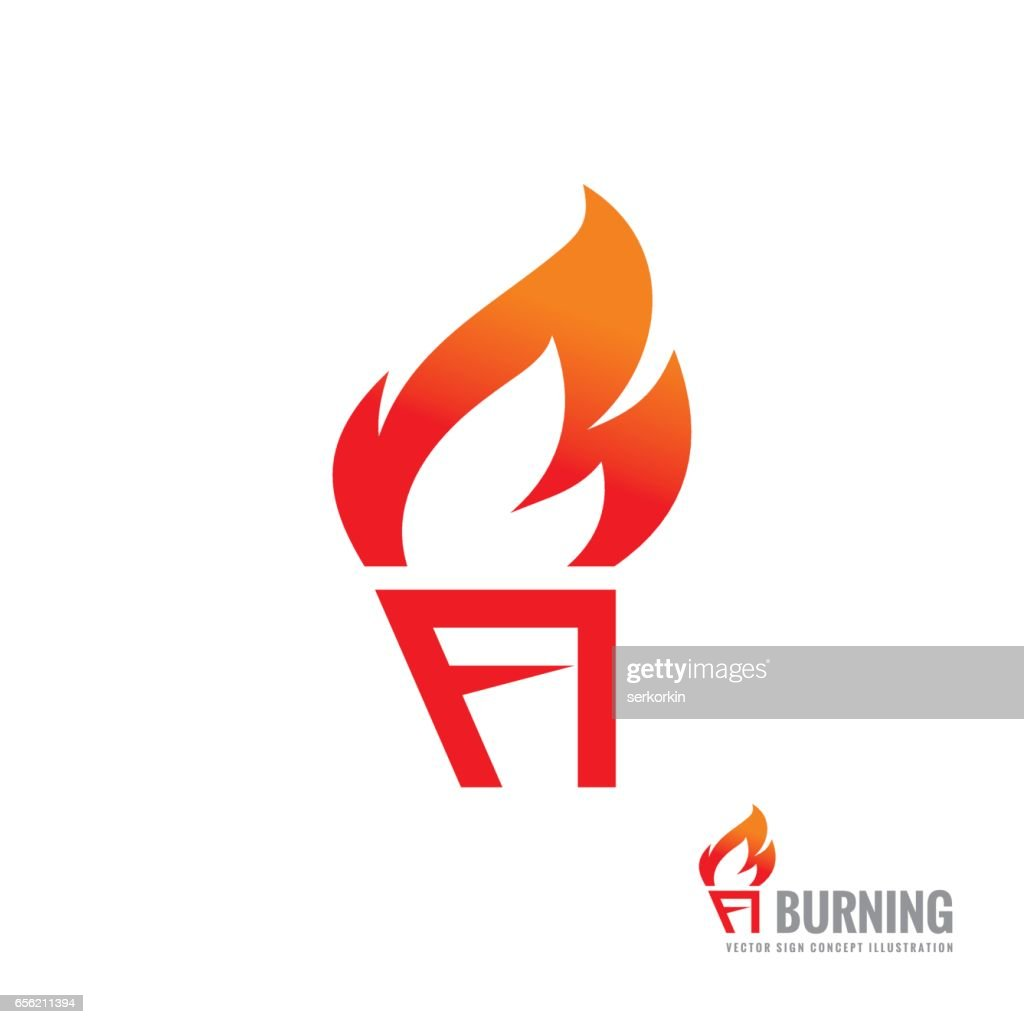 burning torch vector sign