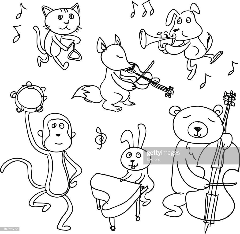 Animaux De Dessin Animé Jouer De La Musique Clipart